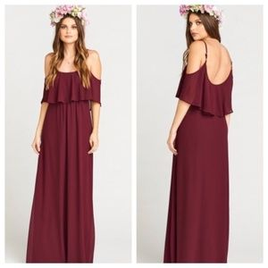NWT Show Me Your Mumu Merlot Chiffon Dress Sz L
